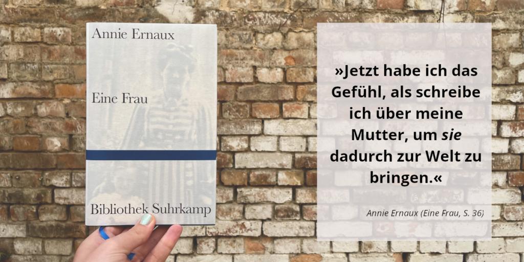Annie Ernaux Buchvorstellung mit Zitat