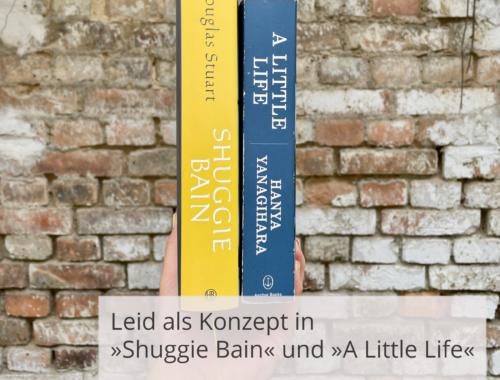 """Eine Hand hält die beiden Bücher »Shuggie Bain« und »A Little Life« mit dem Buchrücken vor einer Steinwand. Davor steht die Überschrift: Leid als Konzept in """"Shuggie Bain"""" und """"A Little Life"""". Oder welchen Unterschied eine own voice Perspektive machen kann."""